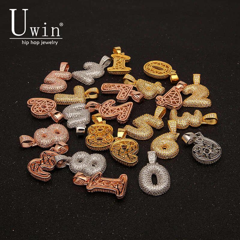 UWIN Hip Hop niestandardowe 0-9 Bubble numerów CZ naszyjniki i wisiorek cyrkonia nazwa naszyjnik dla mężczyzn moda urok biżuterii