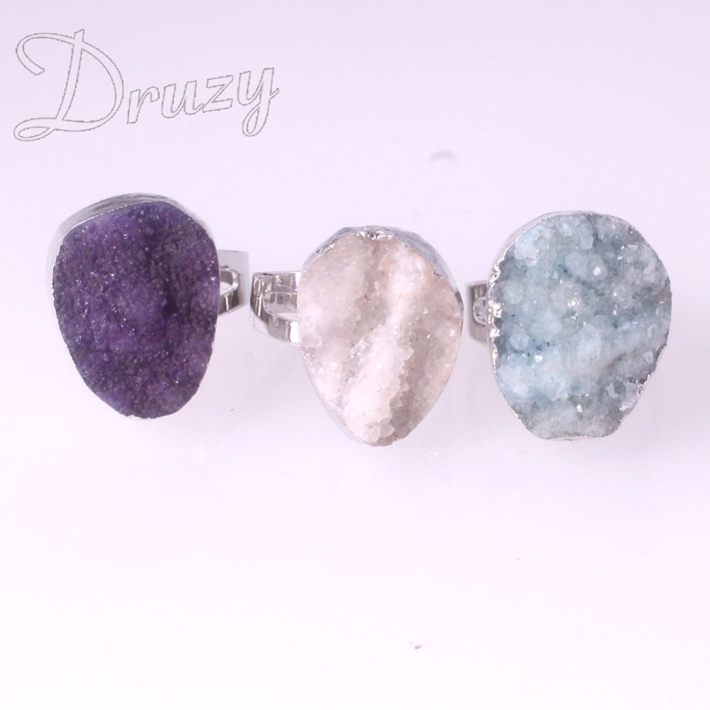 Druzy 1PC Natural Stone Quartz <font><b>Crystal</b></font> Women <font><b>Rings</b></font> Drusy Blue White Purple Drop <font><b>Raw</b></font> Stone Wedding Vintage <font><b>Rings</b></font> Female image
