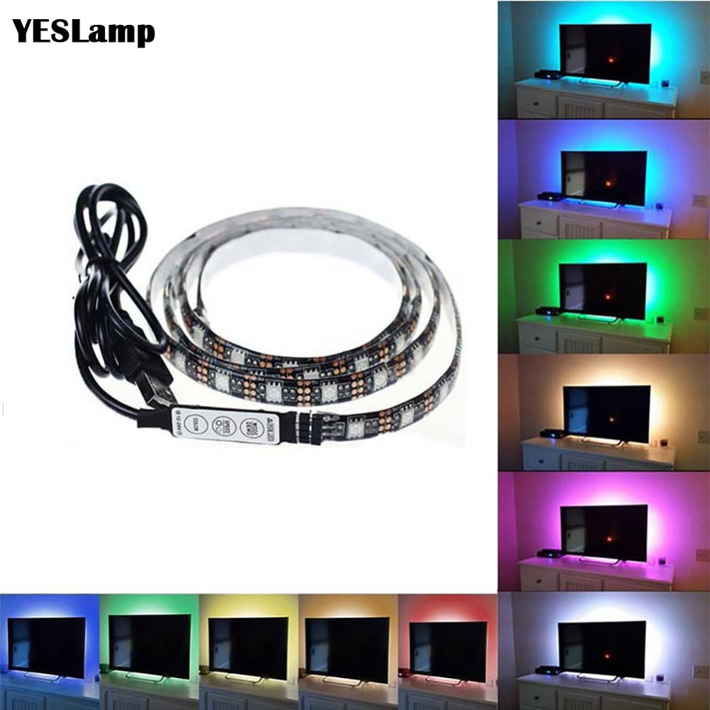 <font><b>USB</b></font> LED Strip DC5V <font><b>5050</b></font> RGB Mini 3Key 17Key RF IR Remote Flexible Light IP65 50CM 1M 2M 3M TV Background Lighting Ribbon Tape image