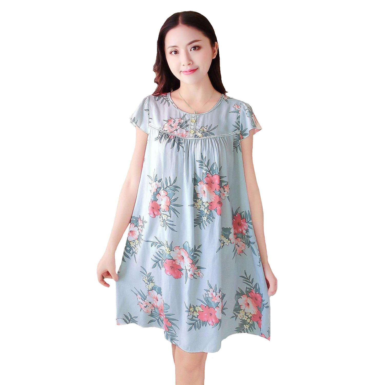 Detail Feedback Questions about Summer Women Printed Sleepwear Cotton Nightgown  Nightwear Sexy Home Dress Nightdress Short Sleeve Loose Sleep Shirt Negligee  ... dbaf5ac66