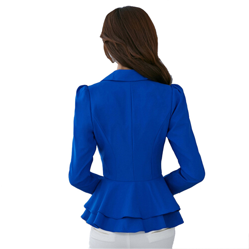 cc0d9b09258c9 XSJPZH 2017 Plus Size Blazers Jackets For Women Royal Blue Blazer Candy  Color Slim Suit Flouncing Long Sleeved Blazer YC050-in Blazers from Women s  Clothing ...