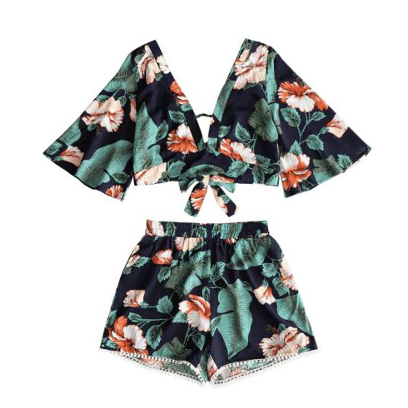 New Summer Womens Casual Floral V-neck Crop Top+ Shorts 2pcs Set Beachwear