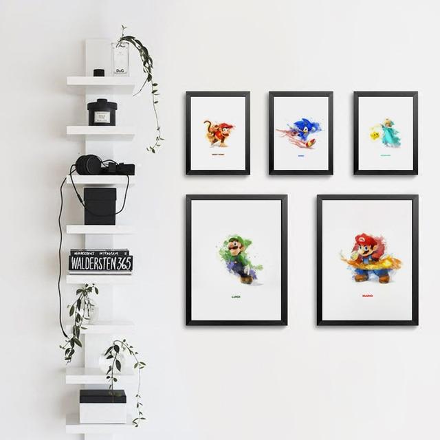 Nintendo Wall Art aliexpress : buy popigist watercolor nintendo game role sonic