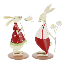 1Set Europe Style Red Rabbits Figurines Cute Miniatures Model Garden Iron Craft Wedding Home Decoration Accessories Gift
