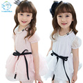 2017 Cotton Summer Kids Clothes For Girls Korean Lace Girls Dresses White Short Sleeve Dress With Necklace And Ribbons Ball Gown