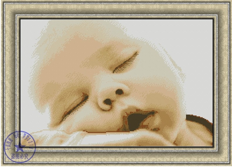 Top Quality Nostalgic Cute Counted Cross Stitch Kit Baby Sleeping Sleep Dream Infant Child