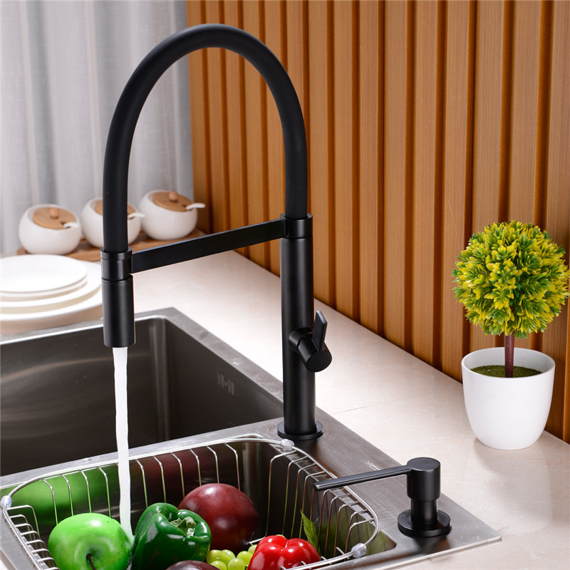 AODEYI solid brass matte black or chrome KITCHEN FAUCETS swivel hot and cold mix deck mounted