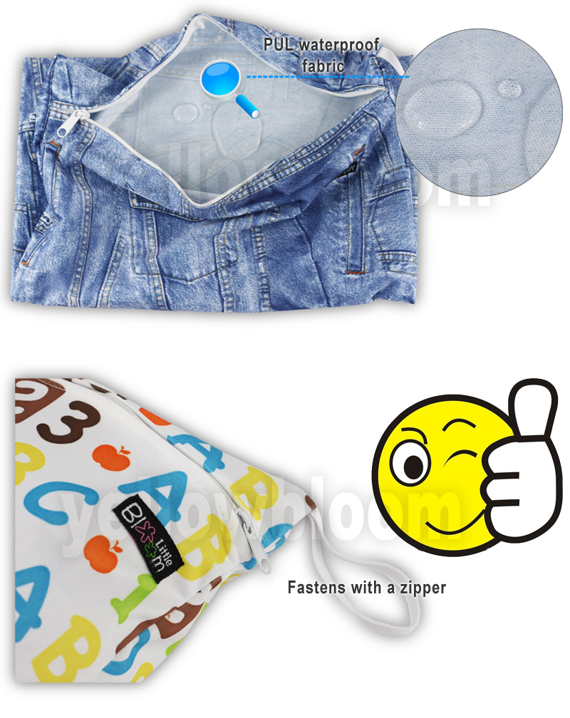 [Littles&Bloomz] Washable Reusable Cloth Diaper Wet Nappy Bag / Waterproof Swim Sport Travel Carry bag/ Big Size:40X30cm