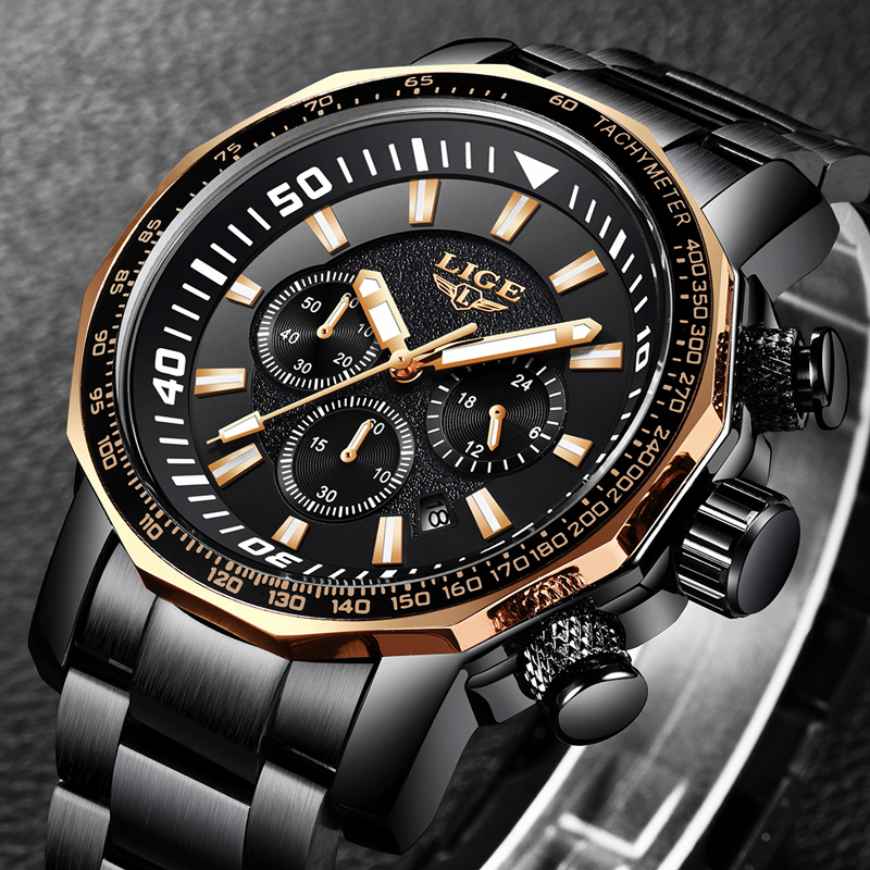 LIGE Fashion Sports Mens Watches Top Brand Luxury Stainless Steel Quartz Watch Men Business Waterproof Watch Relogio Masculino pu leather strap wrist watches for men luxury stainless steel dial quartz watch mens sports business watch relogio masculino lh