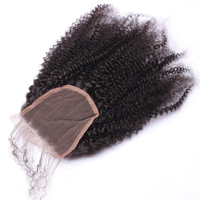 Afro Kinky Bouclés Dentelle Fermeture Avec Bébé Cheveux 4B 4C 100% - Cheveux humains (noir) - Photo 2