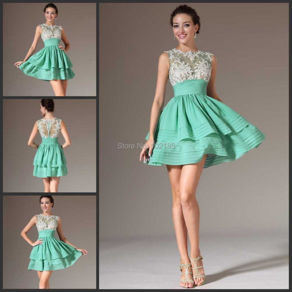 Cocktail dress green on top