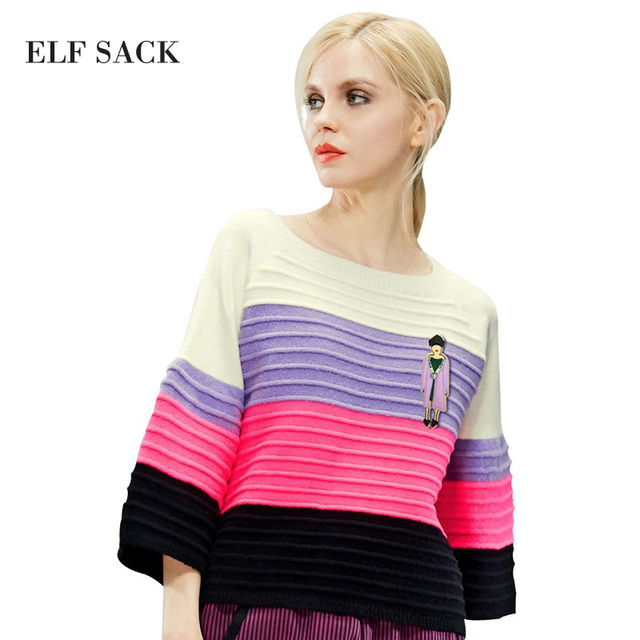 ELF SACK fashion brand new arrival 2017 spring women multicolour stripe flare sleeve loose pullover sweater o-neck free shipping