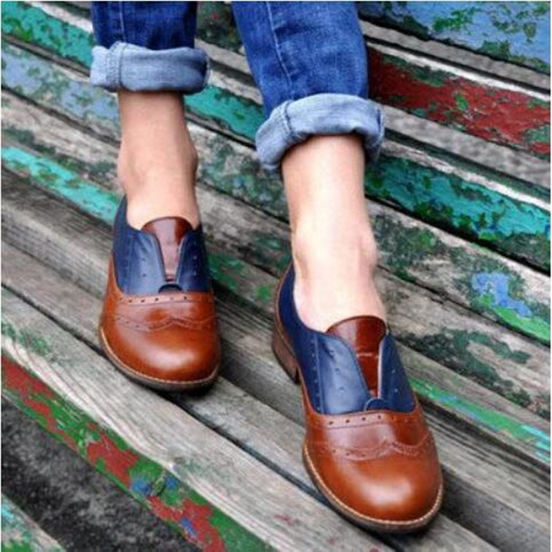 Woman Lace-up Carving Bullock Pointed Toe Slip On Creepers Preppy Leather Derby Shoes Women Flats New British Oxford Shoes