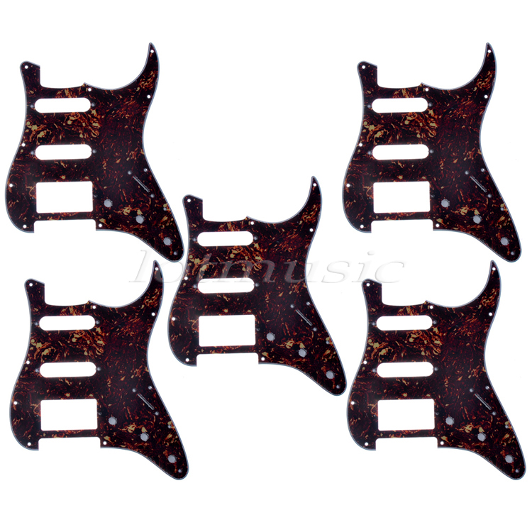 5*US Standard Pickguard,Dark Brown Tortoise Shell Scratch Plate,HSS For Strat Style Guitar Replacement sg standard full face guitar pickguard scratch plate zebra stripe with screws