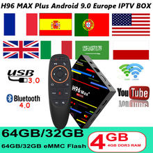 Caja de tv android 9,0 h96 max plus RK3328 HD 4K H.265 1080P 2,4/5G wifi Google jugar 4GB 64GB 1 año Europa iptv portugal H96.(China)
