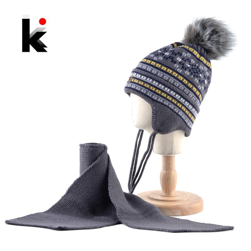 K Marke Kinder Winter Hut Schal Set Für Jungen Imitation Fell Pompon Gestrickte Beanie Baby Kinder Warme Hüte Mit Ohr Schutz Kappe
