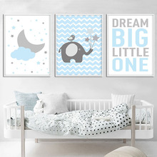 Blue Cloud Elephant Wall Art Nursery Canvas Painting Nordic Kids Decoration Picture For Boys Children Bedroom Decor Unframed
