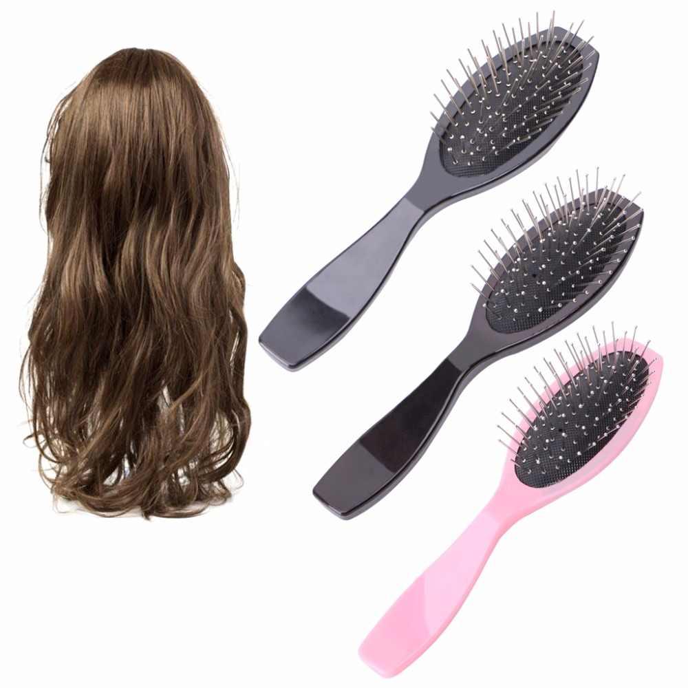 Professionele Anti Statische Stalen Kam Borstel Voor Pruik Hair Extensions Training Hoofd Roze, Zwart, Bruin