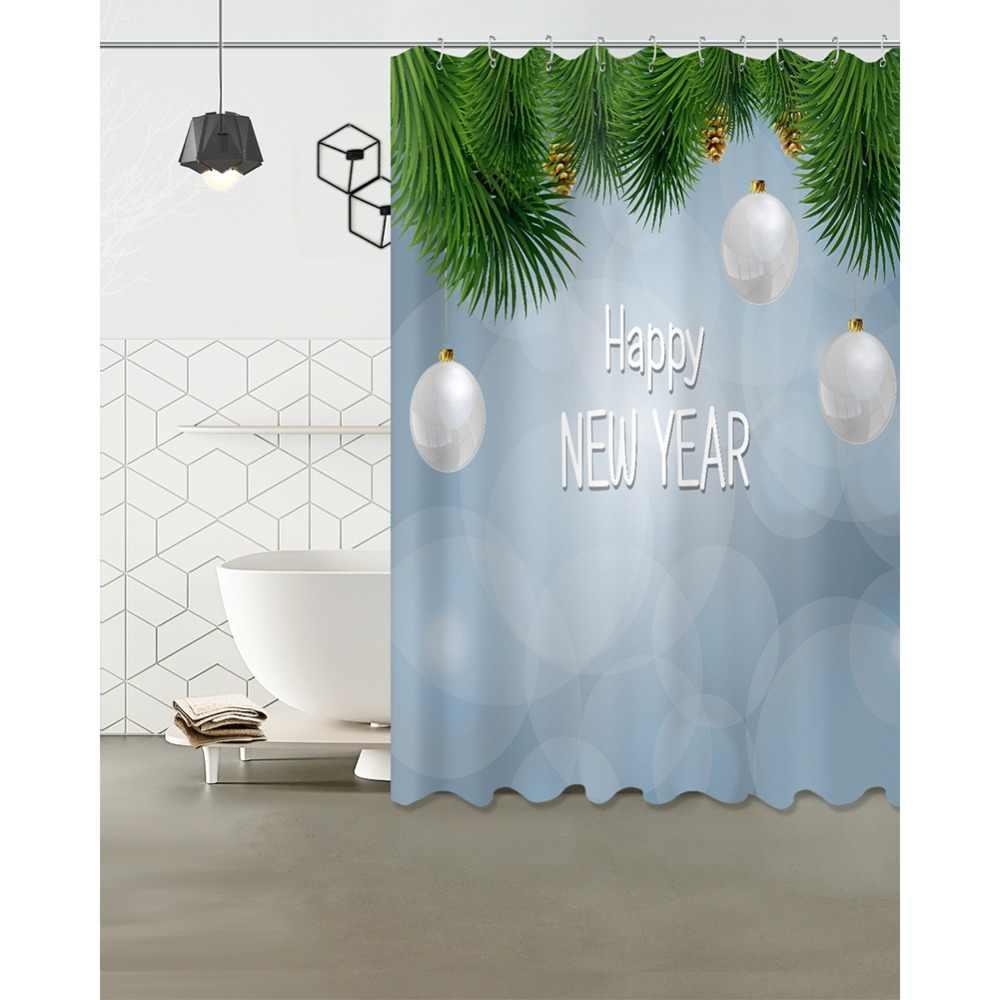 72 ''banho Tecido Impermeável Cortina de Chuveiro de Poliéster 12 Ganchos Acessório Do Banho Conjuntos de Folhas Da Árvore de Bolas De Natal Pinhas