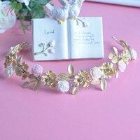 Women Headdress Hair Accessories Retro Matte Gold Porcelain Flower Alloy Rhinestone Bridal Accessories Bridal Jewelry RE353