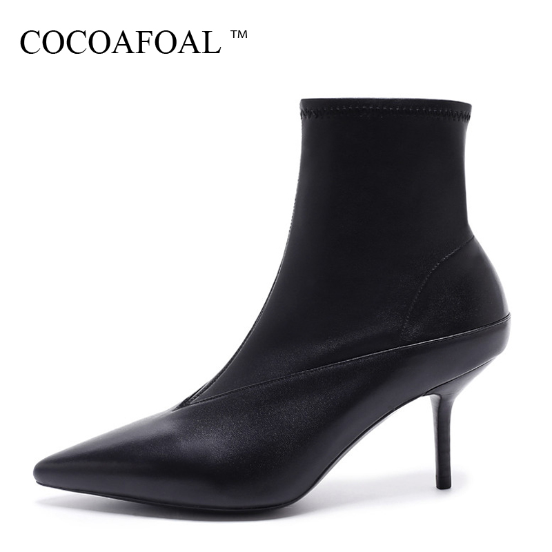 COCOAFOAL Woman Autumn Winter Chelsea Boots Fashion Sexy 7 CM High Heel Shoes Black Genuine Leather Pointed Toe Boots 2018 czrbt genuine leather boots women fashion pointed toe thick heel high heel boots spring autumn cow leather women chelsea boots