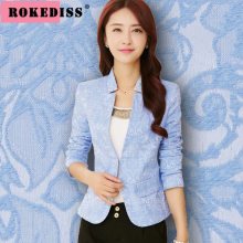 Jacquard stylish blazers for women,solid color stand collar blue blazer,Spring/Autumn elegant veste femme blazer,jacket,TG103