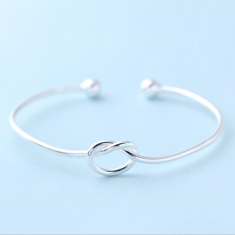 925 Sterling Silver Jewelry Simple Love Knot Slender Opening Female High-quality Popular Personality Bracelet    SB41