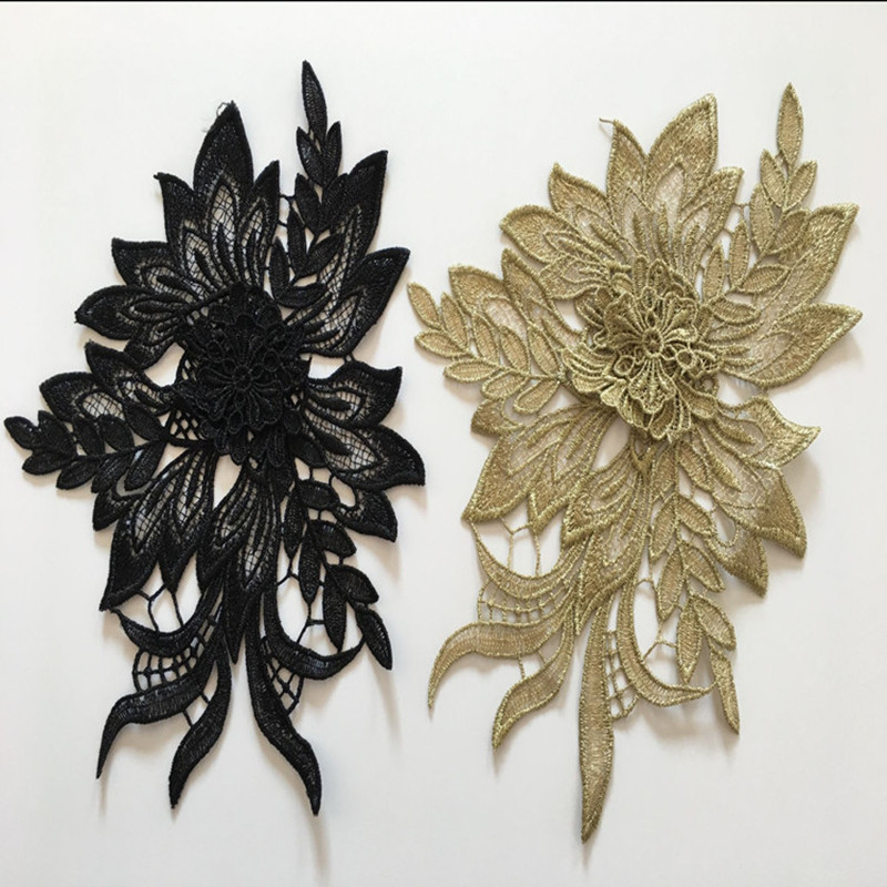 2 Pcs 3D Flowers Embroidered Sew On Patches for Clothing DIY Garment Applique Clothes Patchwork Sticker Black