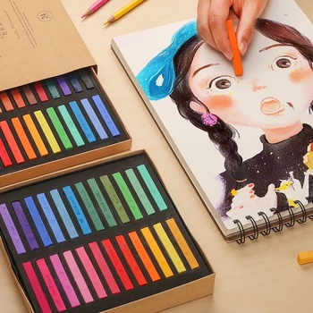 24 48 Colors Soft Pastel Crayons Brush Drawing Set Wax Crayons Painting Stationery For Student Hair