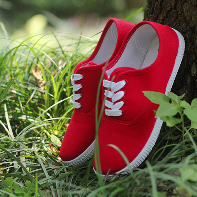 Candy color zapatos mujer plus size canvas shoes casual ladies shoes women shoes lace-up lovers flat shoes woman flats 40 41 42