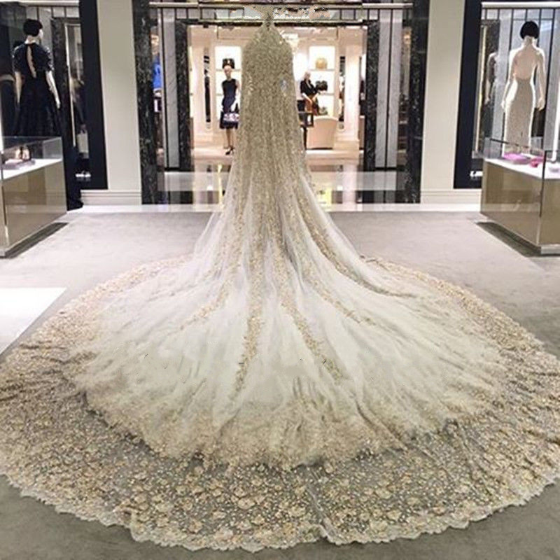 Best Promo Bling Bling Champagne Wedding Dress Mermaid Beaded Lace Long Sleeves Bridal Gown Custom Made Size 2 4 6 8 10 12 14 18 22 24 November 2020