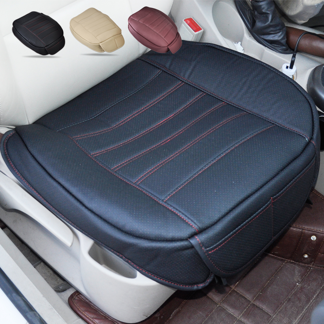 DWCX Universal PU leather Car Interior Front Seat Cover Seatpad For Ford Focus VW Golf Audi A6 BMW E46 E90 Nissan Honda Toyota