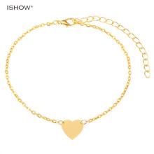 Hot selling fashion heart anklet for woman barefoot sandals jewelry bijoux de pied femme gold-color ankle chain foot jewelry