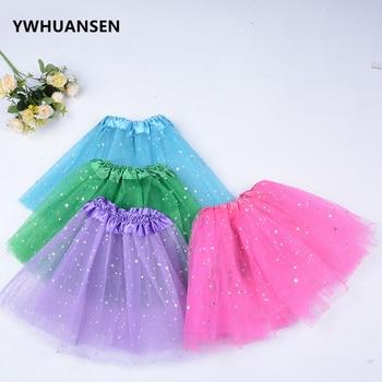 YWHUANSEN блестящая летняя юбка из тюля со звездами и блестками для девочек, детские розовые карнавальные костюмы для девочек