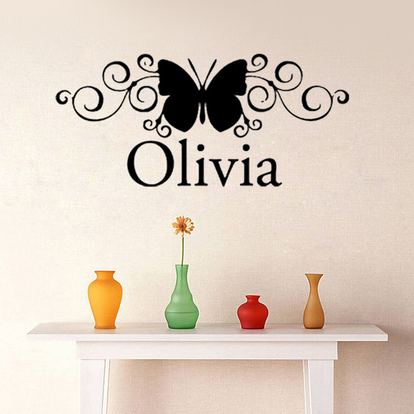 Custom Name Scroll Butterfly Wall Stickers Nursery Decor Baby Girl Bedroom  Vinyl Decals Wall Art Quote Lettering Home Decor In Wall Stickers From Home  ... Part 55