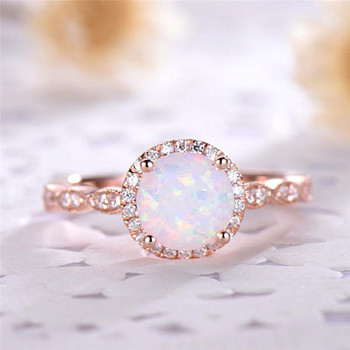 Dainty Round Fire Opal Rings for Women  1