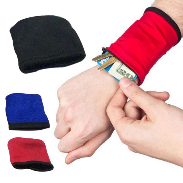1 Pcs 3 Color Unisex Wrist Wallet Pouch Safe Outdoor Running Strap Wrap Cycling Sports Wrist Band Bag Breathable Multifunctional