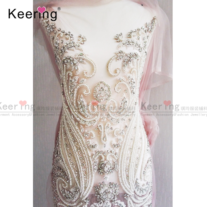 High end customized bridal large beaded applique designs for gown WDP 069