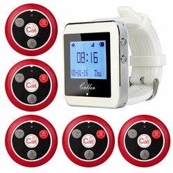 RETEKESS sistema inalámbrico de llamada del camarero para el restaurante servicio sistema Pager invitado Pager 1 reloj receptor 5 botón de llamada F3288B