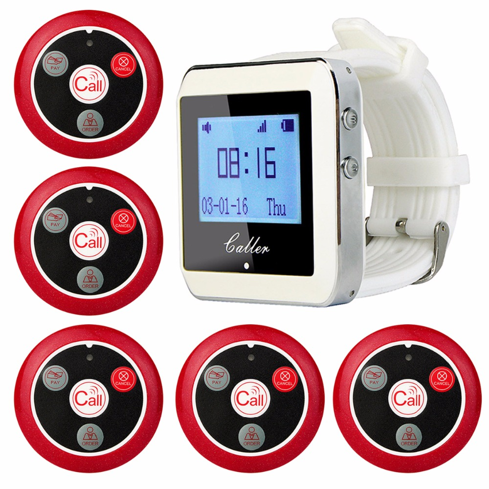 Wireless Waiter Calling System For Restaurant Service Pager System Guest Pager 1 Watch Receiver + 5 Call Button 433Mhz F3288B hot selling restaurant wireless waiter buzzer call button system 1 display 2 black watch pager 30 black table call bells