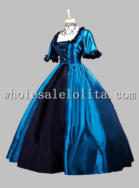 finest selection f5a47 69a09 US $168.0  Gothic Blu e Nero Epoca Vittoriana Vestito Storico Costume di  Scena in Gothic Blu e Nero Epoca Vittoriana Vestito Storico Costume di ...