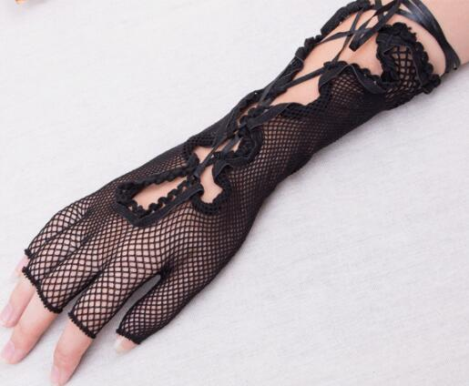 NEW Mesh Sex Lingerie For Women Black Crossed Bandage Long Gloves Cosplay Sex Toys For Adults Party Nightclub Erotic Costumes