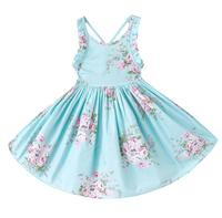 2017 Summer Floral Girls Dresses Beach Style Backless Party Princess Kids Dresses Wedding Children Clothes For