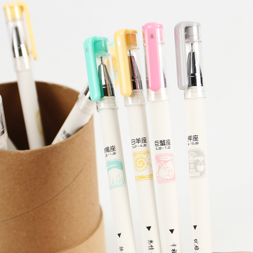 1PC Kawaii Capricorn Libra Constellation Gel Pen Black Ink Plastic Writing Pen Needle Pen Students School Supplies
