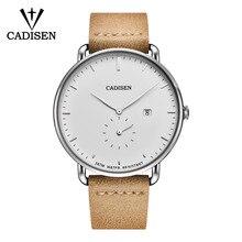C2037 New Fashion Mens Watches CADISEN Militray Sport Quartz Men Watch Leather Waterproof Male Wristwatches Relogio Masculino