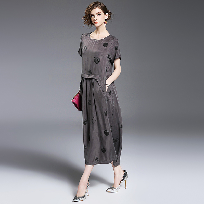 2017 automne nouvelle mode femmes robe imprimer lâche à pois cuivre ammoniaque posé robes gris 8072