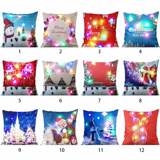 Christmas Lighting LED Throw Pillowcase Cover Cushion Printed Nonwoven Square Home Flashing  home throw pillow covers 45x45cm
