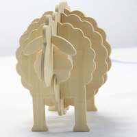 Cute Adorable Bleating Sheep Lamp Base DIY Handmade Wooden Reading Table Lamp for Sale