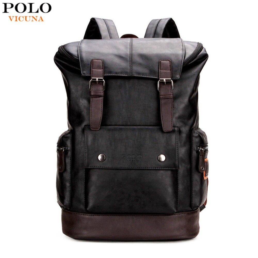 VICUNA POLO Simple Patchwork gran capacidad cuero para hombre mochila de  viaje Casual mochila hombres Daypacks b805cdee65b4
