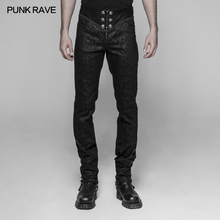 Punk Rave Mens Pants Rock Floar Gothic Fashion Palace Retro Slim-Fitting Men Trousers Stage Performance Long